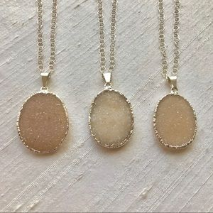 Sparkling Druzy with Sterling Silver Necklace